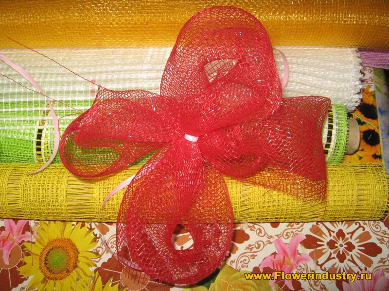 бантик своими руками из сетки для цветочного букета